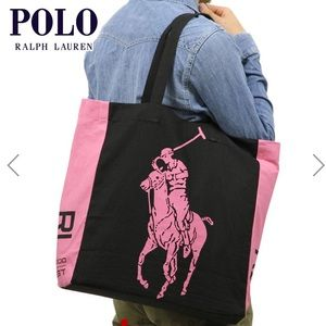 Polo by Ralph Lauren pink pony canvas tote bag